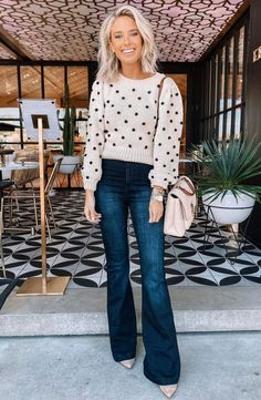 Home - Home best outfit for thanksgiving day : polka dot sweater jeans bag Source by rhiannonh. Casual Fall Outfits, Fall Winter Outfits, Autumn Winter Fashion, Outfits For Thanksgiving, Look Fashion, Fashion Outfits, Best Outfits, Polka Dot Sweater, Polka Dot Outfit
