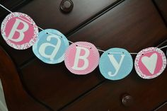 Baby Shower Birthday Banner Bunting Paper by BellaBambiniDecor, $12.00