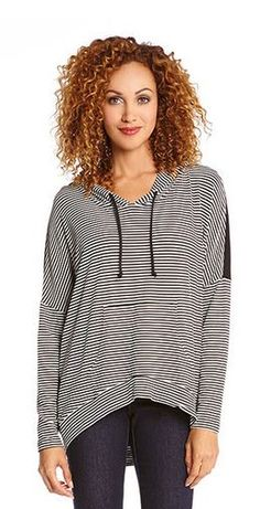 BLACK STRIPE CONTRAST BACK HOODIE #Black #Stripe #Contrast #Back #Hoodie #Fashion