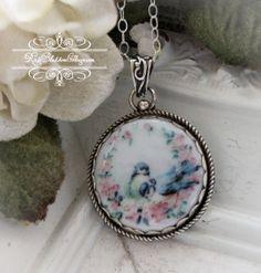 Blue Jay Porcelain Sterling Pendant Necklace Artisan Handcrafted.  RoseBlossomCottage.com