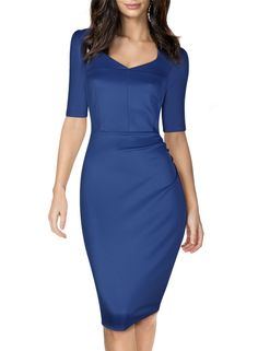 Miusol Women's Casual Short Sleeve Office Business Bodycon Pencil Party Dress at Amazon Women's Clothing store: