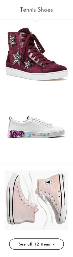 """""""Tennis Shoes"""" by izzystarsparkle ❤ liked on Polyvore featuring shoes, sneakers, burgundy velvet, sequin sneakers, velvet shoes, lola cruz sneakers, velvet sneakers, burgundy sneakers, white and white low top shoes"""