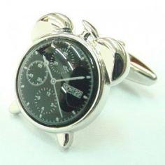 Metal Fashion, Alarm Clock, Chronograph, Cufflinks, Bling, Silver, Men, Clocks, Cuffs