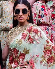Sabyasachi floral print saree with retro inspired shades is everything!