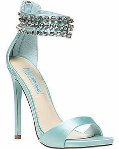 Betsey Johnson ~ Tiffany Blue Satin Bridal Shoes w Silver Hearts Embellished Ankle Strap