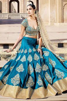 Sky Blue and Gold Bhagalpuri Silk Three Piece Bridal Lehenga Set