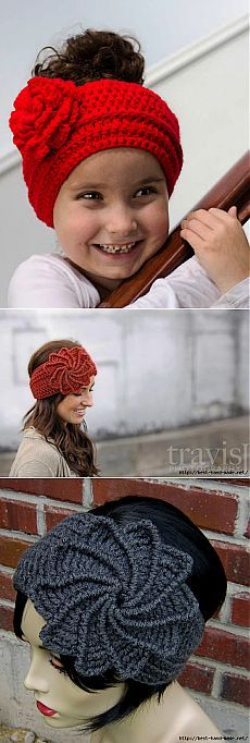 Вязаные повязки на голову. Идеи, мастер-классы