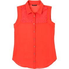 La Mode. Modelo: G815A0429569GCA. Blusa con encaje, sin mangas, cuello sport.