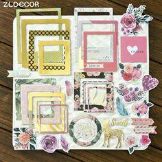 ZLDECOR 30pcs Sweet Photo Frames Cardstock Die Cut for DIY scrapbooking/photo album Decoration Crafts