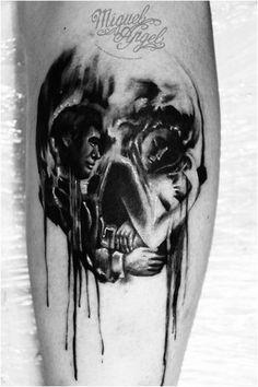 25 exemplos incríveis de tatuagens que combinam caveiras com ilusão de ótica | Ideia Quente