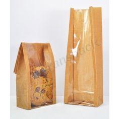 Window Bags Cello Window Bag Jute 90 x 240 41 x 85 Chocolate Videos, Bag Packaging, Packaging Ideas, Print On Paper Bags, Sweet Bags, Bag Display, Cellophane Bags, Brown Bags, Printed Bags
