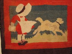 ANTIQUE HOOKED RUG-MARY HAD A LITTLE LAMB-BRIGHT COLORS-READY TO DISPLAY-NICE...