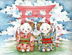 Maneki Neko Japenese Fantasy Art Print by ShannonValentine on Etsy, $5.50