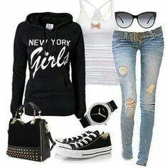 Blck Sweater W/ White Letters , White Tank Top , Baby Blue Skinnys W/ Holes , Blck &&' White Converse , Sunglasses &&' A Black Purse &&' A Watch