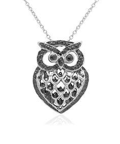 Diamond & Silver Owl Pendant Necklace