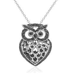 Diamond & Silver Owl Pendant Necklace