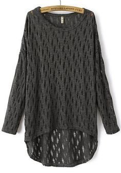 Love Oversized Sweaters! Comfy Dark Grey Patchwork Hollow-out Long Sleeve Sweater