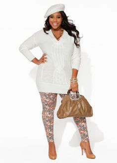 Ashley Stewart Cable Knit Sweater, Paisley Leggings and Square Handle Hobo