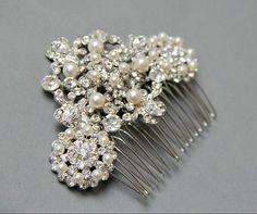 Vintage Style Bridal Hair Comb Rhinestone by LavenderByJurgita