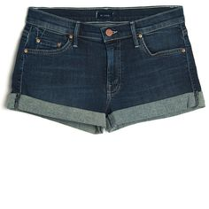 Mother Cuffed Jean Short ($155) ❤ liked on Polyvore featuring shorts, bottoms, pants, short, kirna zabete, denim short shorts, cuffed jean shorts, jean shorts, stretchy jean shorts and blue short shorts