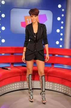 Rihanna Photos Photos - Singer Rihanna appears on BET's '106 & Park' at the BET Studios on June 18, 2008 in New York City. - Fashion Feature: Fetish Boots
