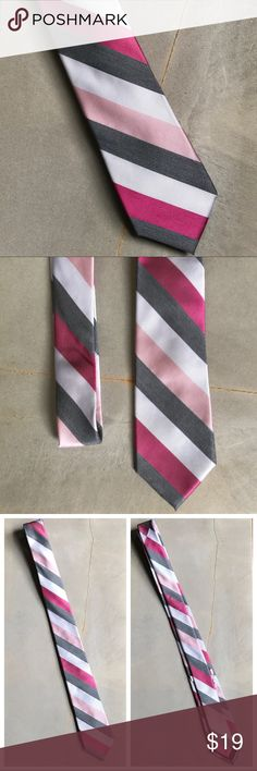Mens Express Silk Striped Pink Grey White Tie Mens Express Silk Striped Pink Grey White Tie  100% Silk Dry Clean Only  Very Good Condition! I will be adding more ties, so bundle to save! Express Accessories Ties