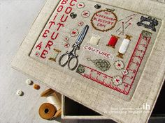 Light in the box: Boite a couture. Embroidery Sampler, Diy Embroidery, Cross Stitch Embroidery, Embroidery Patterns, Cross Stitch Designs, Cross Stitch Patterns, Stitch Box, Fabric Embellishment, Cross Stitch Finishing