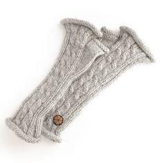 Mitaines torsadées grises, 100% alpaga de couleur naturelle, faites à la main