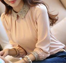 S-xxl 2015 yeni moda kadın uzun kollu şifon bluz gömlek peter pan yaka fener kollu bayan bluz üstleri(China (Mainland))