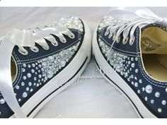 Classic low rise converse with - Toes fully covered with hundreds of pearls and crystals - Fully crystallised backstrips with a mixture of pearls. -