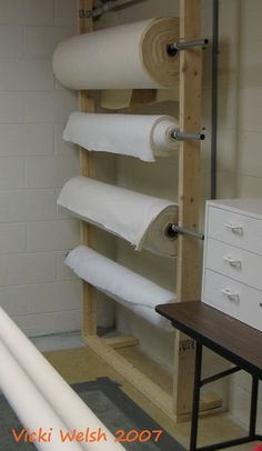 Great idea for batting storage (or pattern-making paper, or fabric on rolls e.g. Calico/heavy wt. Muslin for test garments)