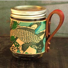Koi fish leather mason jar sleeve by flightpathdesigns on Etsy