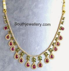 Ruby Necklace latest jewelry designs - Page 27 of 52 - Indian Jewellery Designs Mom Jewelry, Ruby Jewelry, Jewelry Model, Simple Jewelry, Jewelry Crafts, Diamond Jewelry, Beaded Jewelry, Jewelery, Circle Pendant Necklace