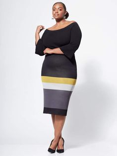 97ac785c7f New York & Company Gabrielle Union Collection - Plus Colorblock Sweater  Skirt Gabrielle Union, Color
