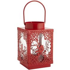 """Bird Lantern, reg 10 clearance $4.98 -- """"made of glass and rust-resistant iron. Add LED or real votives"""""""