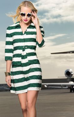 For image licensing information please contact Opus Reps Louis Vuitton Sunglasses, Grey And White, Black, Green Stripes, Striped Dress, Editorial Fashion, Short Sleeve Dresses, Casual, How To Wear