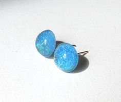 Sparkly Glass Turquoise Studs  10mm Glass Dome by TheGlitorisShop