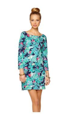 Lilly Pulitzer Marlowe Boatneck T-Shirt Dress in Bright Navy Trunk Show print.