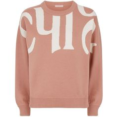 Chloé Logo Sweater ($1,115) ❤ liked on Polyvore featuring tops, sweaters, chloe sweater, knitwear sweater, chloe top, round neck sweater and red sweater