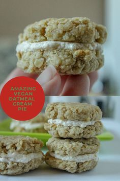 These vegan oatmeal cream pies taste just like the Native food oatmeal cream pies. They are seriously good!#veganoatmealcreampiecookierecipe #vegancookierecipes #veganchristmascookies