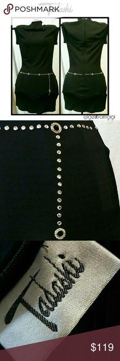 TADASHI Little Black Dress w/ Rhinestones Size large. Capped sleeves with rhinestone embellishments. Gorgeous!! Tadashi Shoji Dresses Mini
