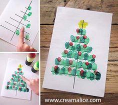 ★ ✄ DIY Carte Sapin Noël Empreinte doigts / DIY Fingerprint Christmas Tree Card ✄ ★ www.creamalice.com