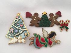 Vintage LOT of Christmas holiday pins Candy Canes by Culturewares