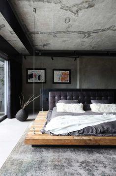 Cama Industrial, Industrial Bedroom Design, Industrial Interiors, Men's Bedroom Design, Master Bedroom Interior, Home Bedroom, Modern Bedroom, Loft Interior, Estilo Interior