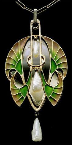 LEVINGER & BISSINGER Egyptian Revival Pendant Gilded silver Plique-à-jour enamel Pearl by gwendolyn