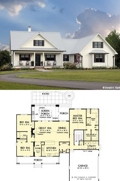 House Plans 2 Story, New House Plans, Dream House Plans, Small House Plans, Open Concept House Plans, One Level House Plans, One Level Homes, Rustic House Plans, Family House Plans
