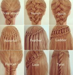 Different Types of Braids #pmtslombard #paulmitchell #hair #style #braid #frenchbraid #threestrandbraid #verticalbraid #twistedbraid