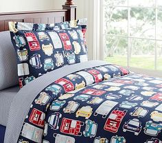 Car Duvet Cover, love it looks great paired with the gingham! #tempting