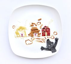 Three little Pigs. Malaysian artist Hong Yi, creates a beautiful piece of art in her plate made entirely out of food. http://www.ohiseered.com/