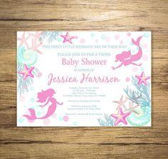 Mermaid Twins Baby Shower Invitation, Twin Girls Mermaid Under The Sea Baby Shower Invitations, Twin Mermaids Invitations